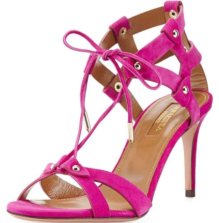 Aquazzura Bel Air Sandals Pink Suede