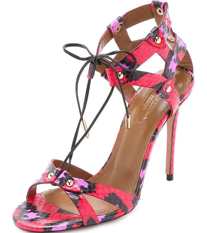 Aquazzura Bel Air Sandals Candy Lipstick