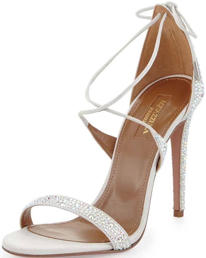 Aquazzura Linda Sandals Silver Crystal