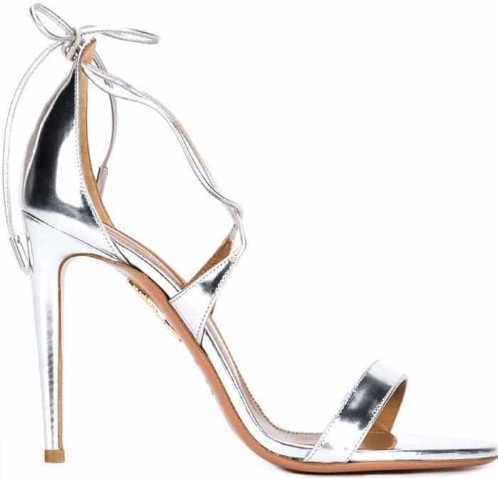 Aquazzura Linda Silver Leather Sandals