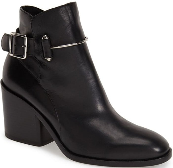 Balenciaga Pierced Round-Toe Ankle Boot