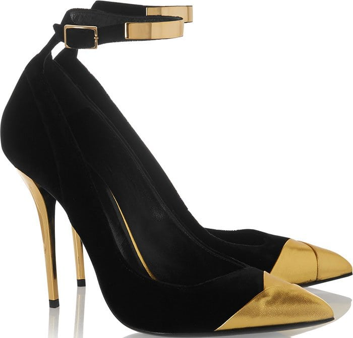 Balmain Liliea Metallic Leather Trimmed Velvet Pumps