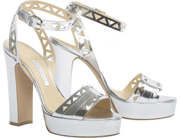 Metallic Leather Bionda Castana Zoe Sandals width=