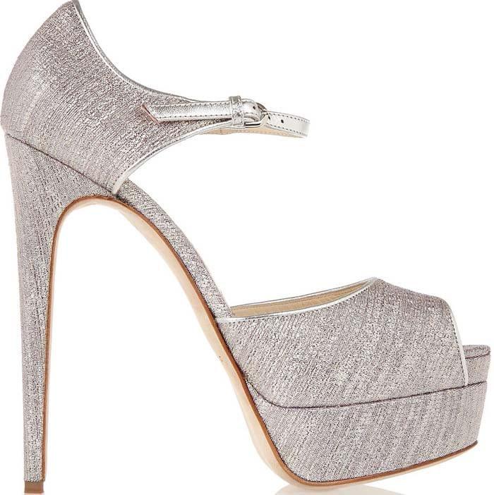 Brian-Atwood-Lame Platform Sandals