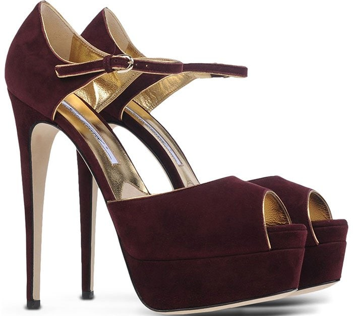 Brian Atwood Tribeca Sandals Maroon Suede