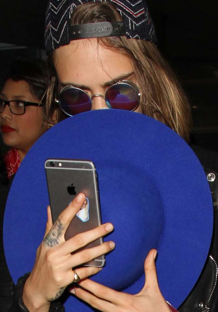 Cara Delevingne leaves Paris and arrives at the Los Angeles Airport