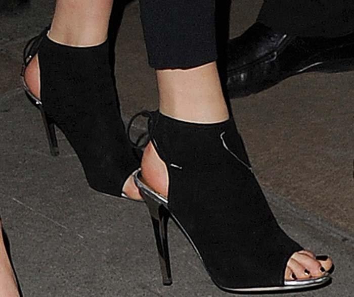 Cara Delevingne's feet in Jimmy Choo booties