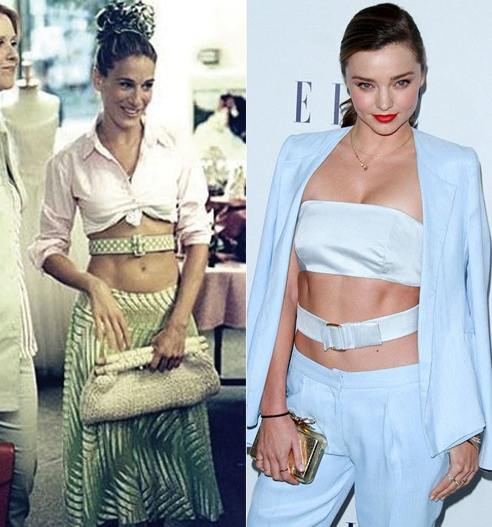 "Miranda Kerr taking a cue from the ""Sex and the City"" character Carrie Bradshaw"