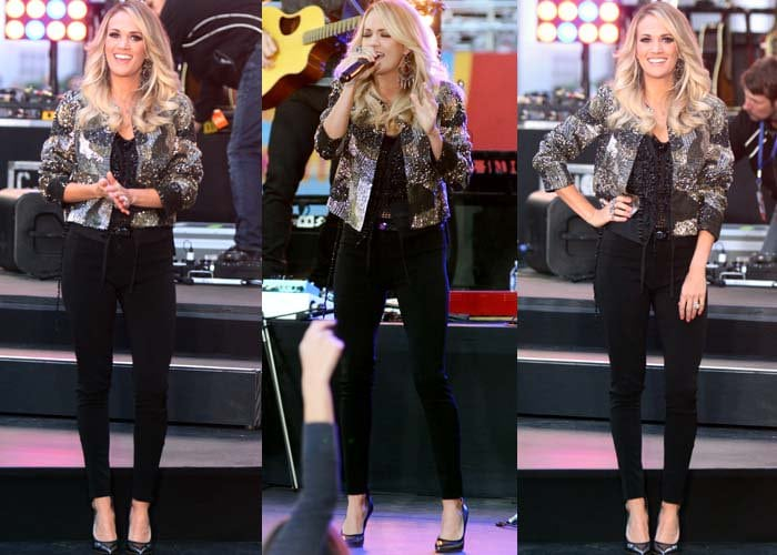 Carrie Underwood performs in a pair of black jeans and a sequined jacket from Alice + Olivia