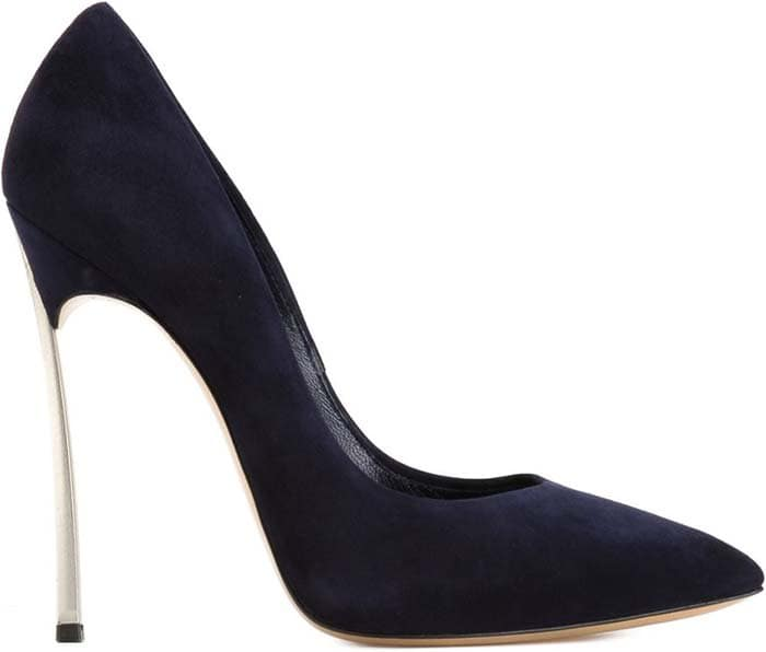 Navy Blue Blade Pointed Toe Pumps