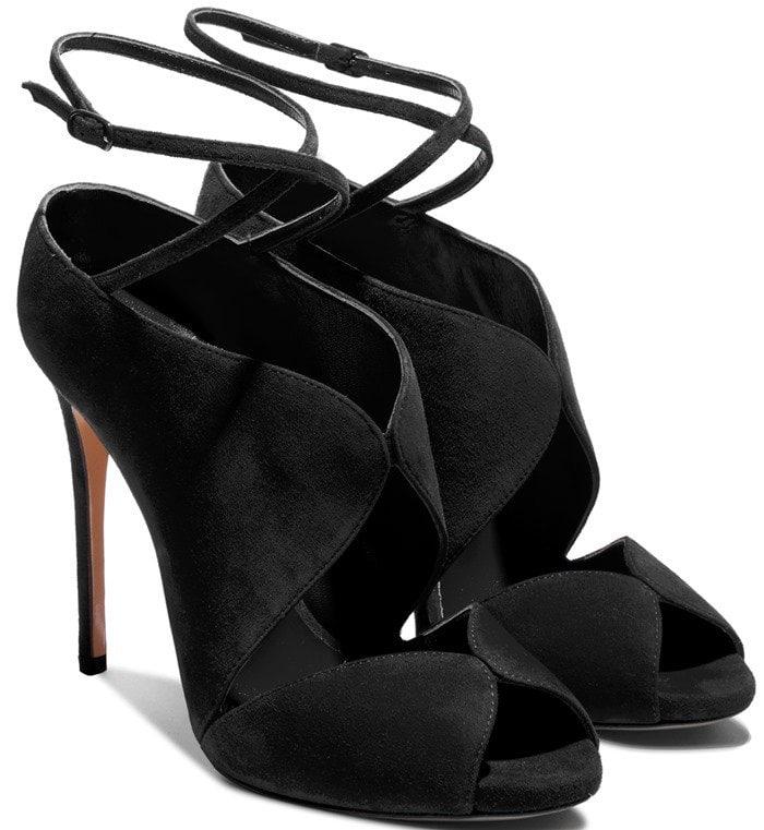 Black Suede Open-Toe Sandals
