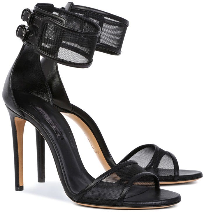 Black Nappa Ankle Strap Sandals