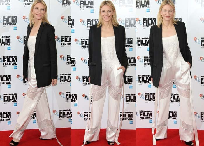 Cate Blanchett wears a lace Givenchy jumpsuit on the red carpet at the BFI London Film Festival
