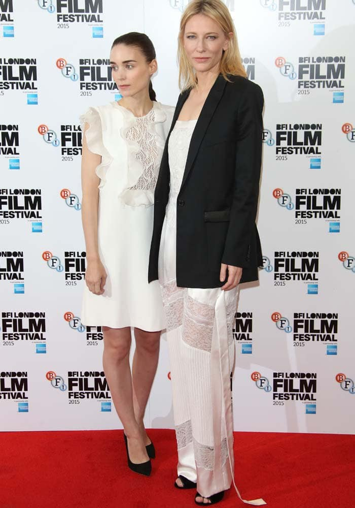 Cate Blanchett and co-star Rooney Mara coordinate lacy white looks on the red carpet