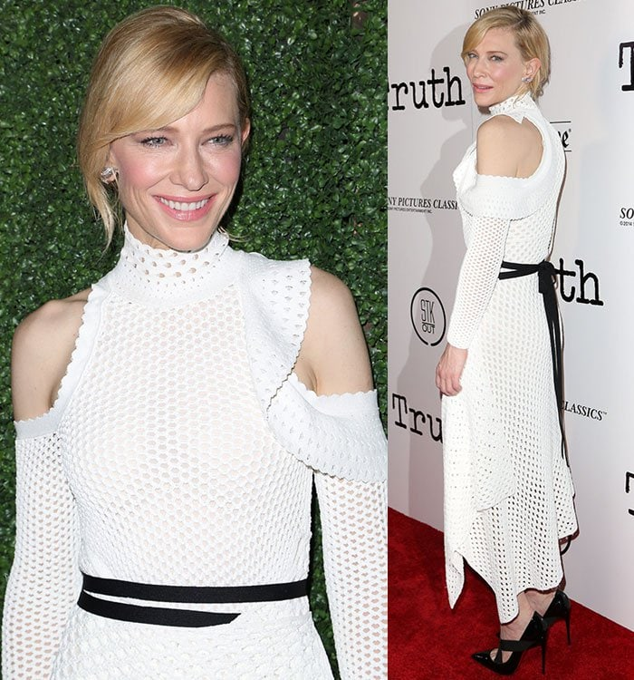 Cate Blanchette shows off the black belt detail on her mesh knit gown from Proenza Schouler