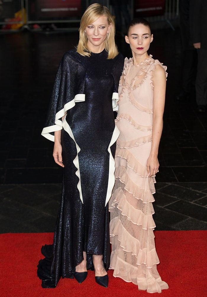 """Cate Blanchett and Rooney Mara at the screening of """"Carol"""" during the BFI London Film Festival at the Odeon Leicester Square in London, England, on October 14, 2015"""