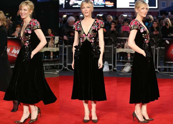 Cate Blanchett wears a Schiaparelli gown on the red carpet of the London Film Festival