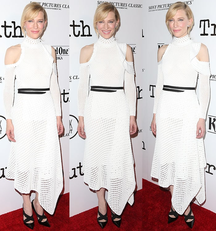 Cate Blanchette styles her blonde hair into an updo for her latest red carpet appearance