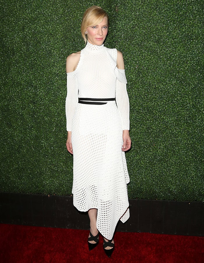Cate Blanchette shows off her shoulders in a white Proenza Schouler dress on the red carpet