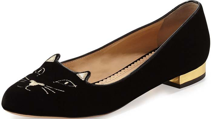 Charlotte Olympia Kitty Velvet Cat-Embroidered Flat in Black/Gold