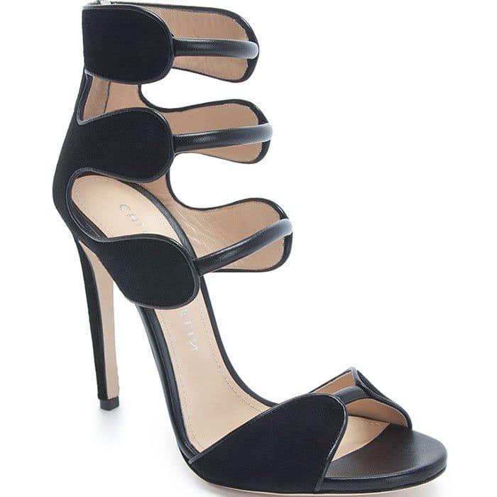 Chloe Gosselin Black Suede and Calf Larkspur Sandals