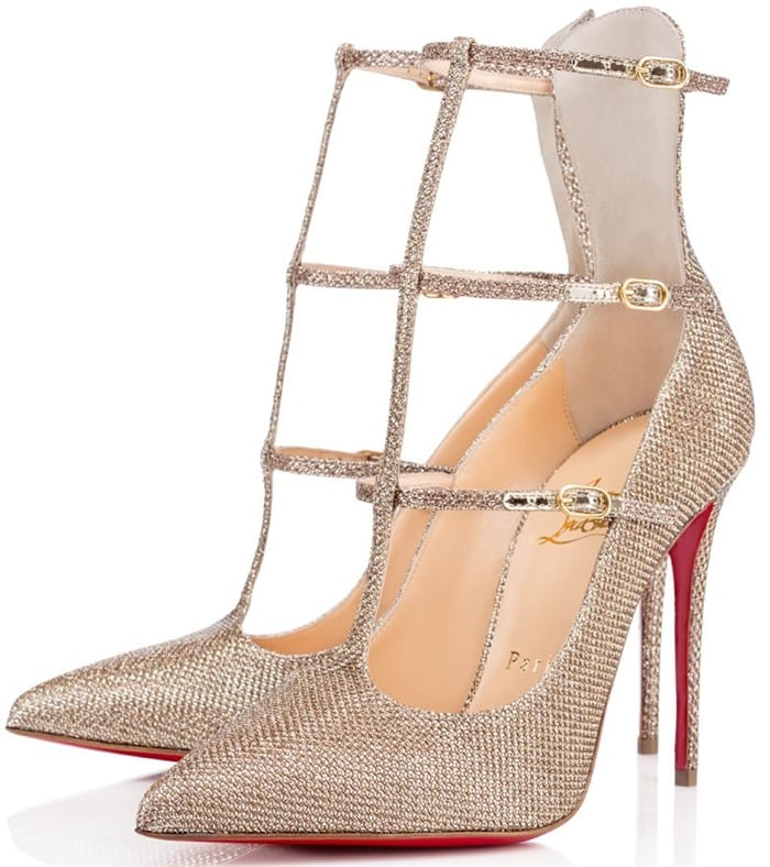 Christian Louboutin Toerless Muse Triple T-Strap Pumps Gold