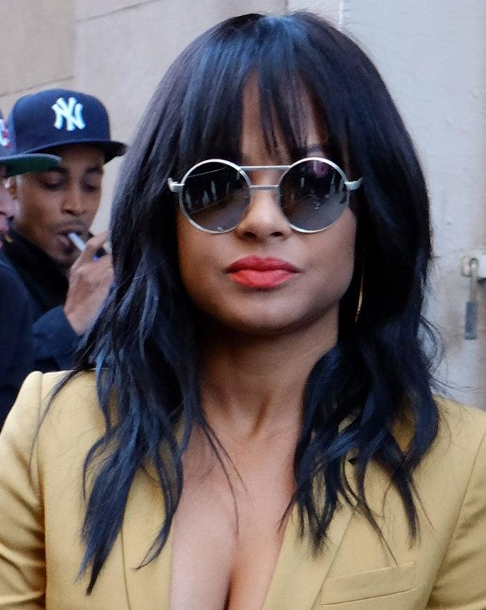 Christina Milian's round retro-vintage sunglasses