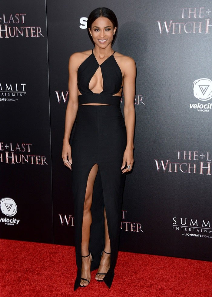 Ciara shows off plenty of skin in a black Solace London dress