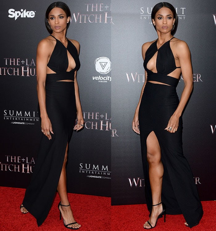 Ciara shows off her legs, arms, shoulders and underboob in a black maxi dress from Solace London