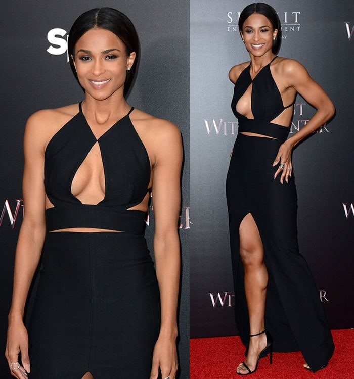 Ciara wears her dark hair center-parted and tied back