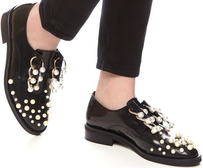 Coliac Martina Pearl-Embellished Derby Shoes