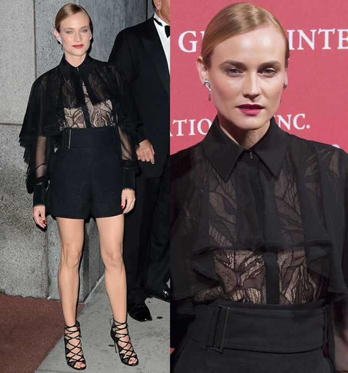 Diane Kruger wears her blonde hair back shows some skin through a sheer blouse
