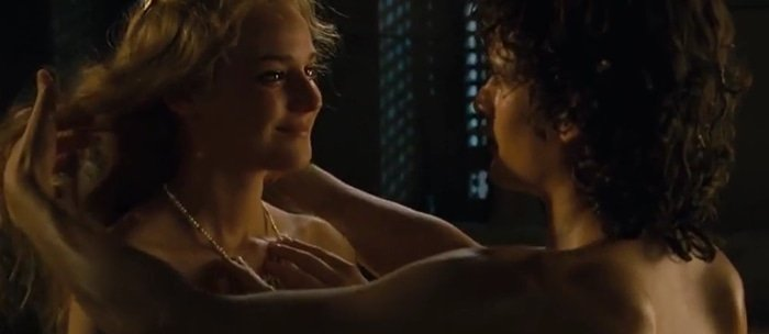 The Troy love scene between Helen and Paris was reframed in the director's cut to include more nudity of Diane Kruger