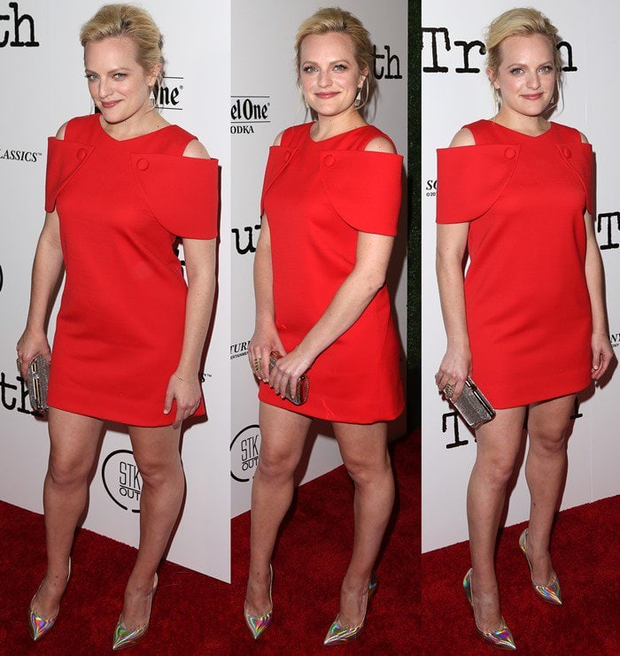 Elisabeth Moss finishes her movie premiere look with a pair of Casadei pumps