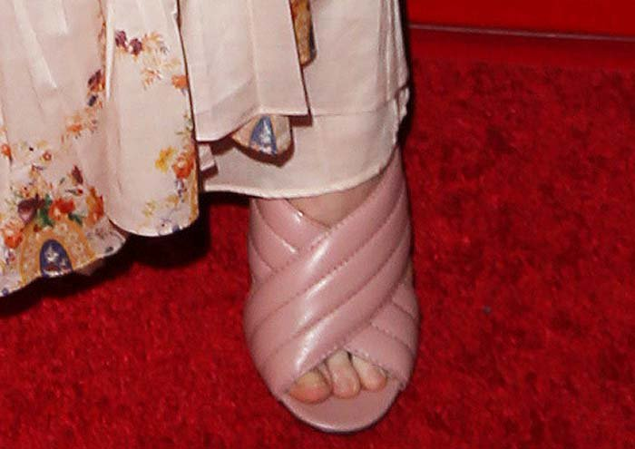 Elle Fanning's feet in Gucci shoes
