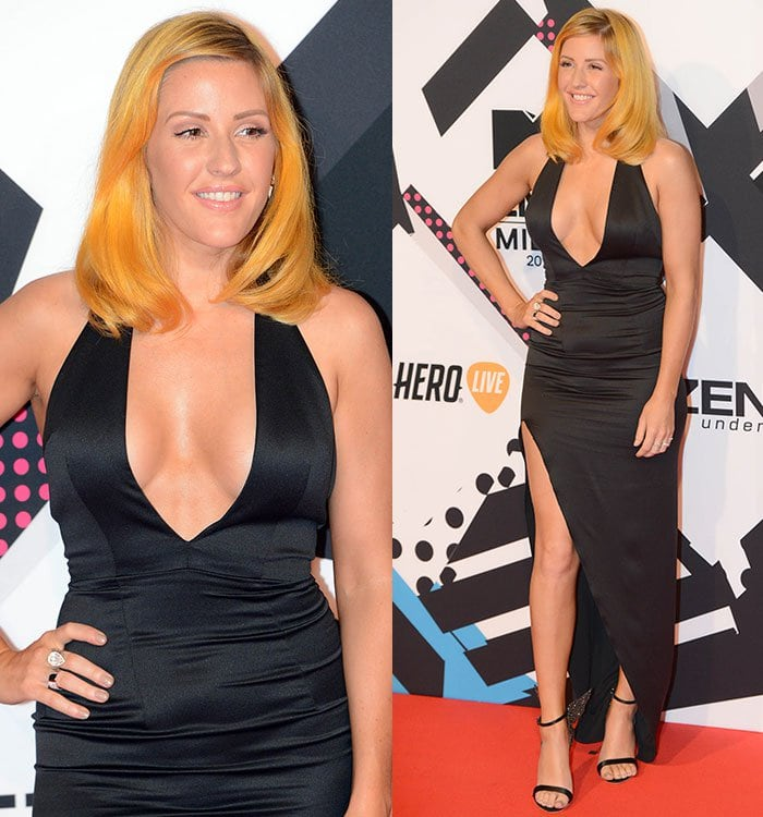 Ellie Goulding's dress features a cleavage-baring neckline, sexy cutout back, and thigh-high slit