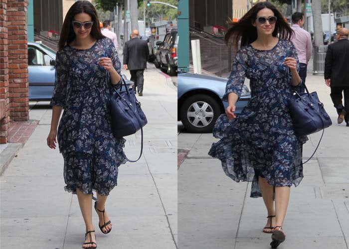 Emmy Rossum goes shopping in a blue floral dress from Rebecca Taylor