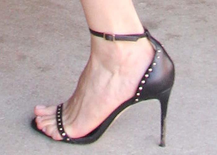 Emmy Rossum's feet in Raye sandals