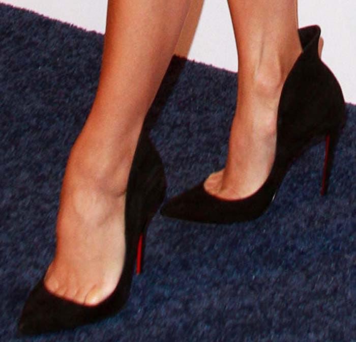 "Eva Longoria wearing Christian Louboutin ""Mea Culpa"" flared suede red sole pump in black"