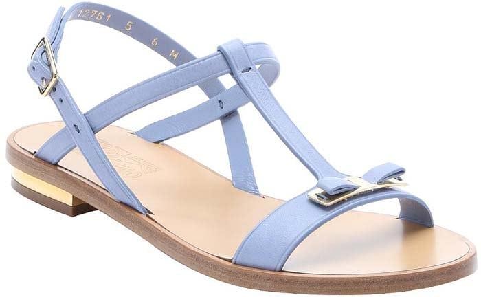 Salvatore Ferragamo Calfskin Marino Bow Strap Sandals in Light Blue