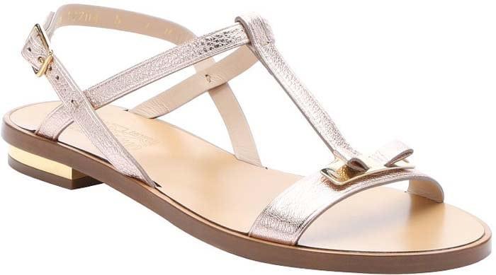 Salvatore Ferragamo New Bisque Metallic Calfskin Marino Bow Strap Sandals in Pale Pink