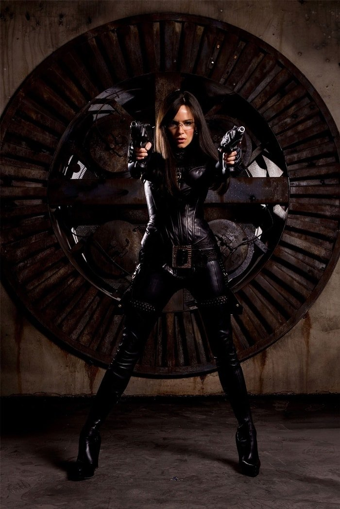 Sienna Miller made her action blockbuster debut starring as a butt-kicking raven-haired baroness, who wears a sexy tight-fitting leather ensemble to fight in G.I. Joe: The Rise of Cobra