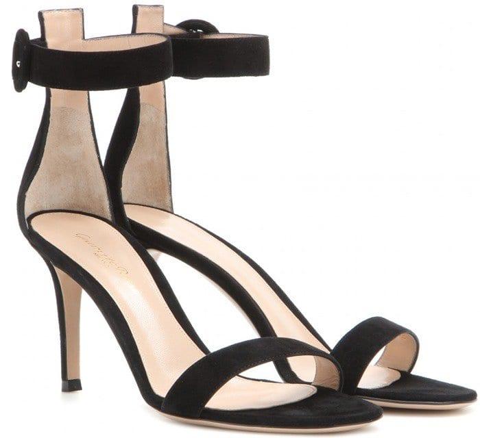 Gianvito Rossi Black Portofino Suede Sandals