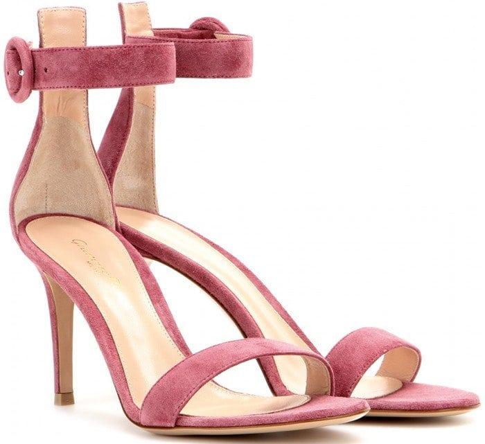 Gianvito Rossi Pink Portofino Suede Sandals