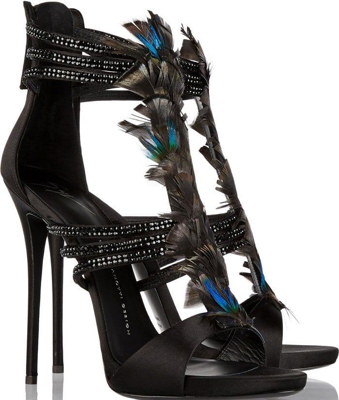Giuseppe-Zanotti-Coline-feather-embellished-satin-sandals