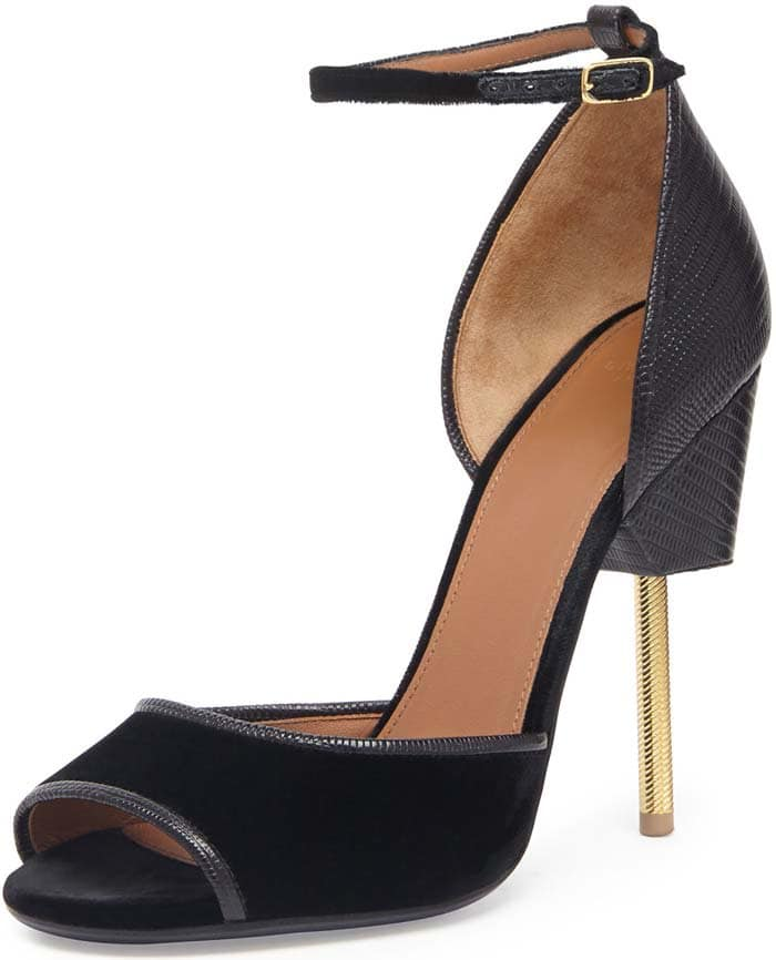 """Givenchy """"Matilda"""" velvet and embossed-leather screw-heel sandals"""