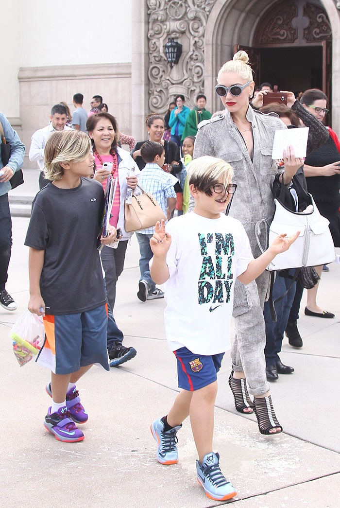 Gwen Stefani and her children head to church in Studio City
