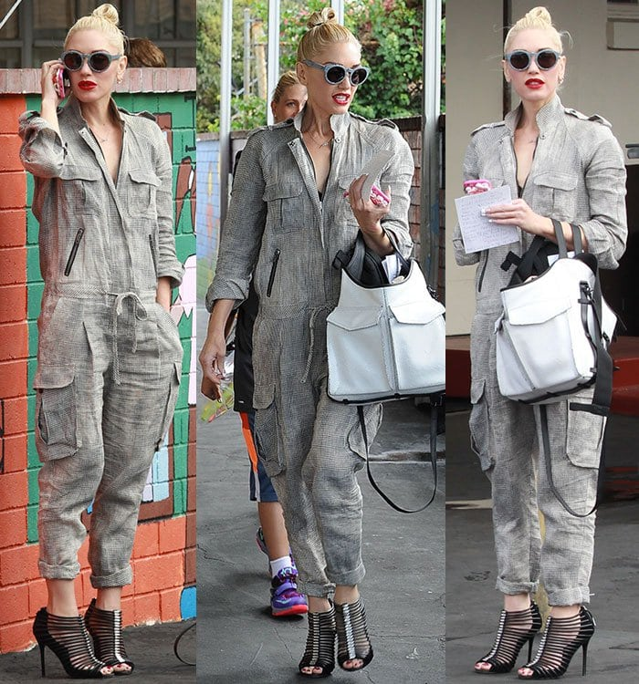 Gwen Stefani cuffs her jumpsuit to show off her L.A.M.B. sandals