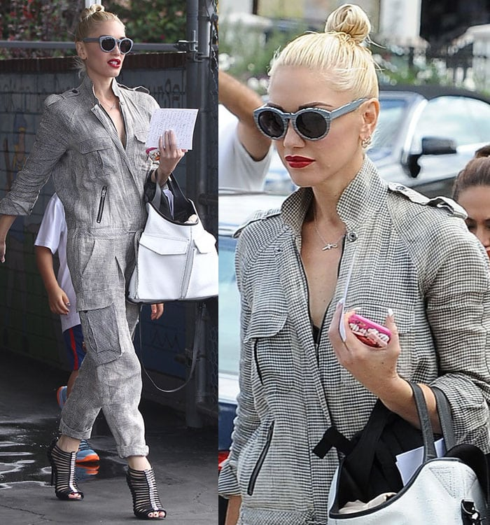 Gwen Stefani clutches her cellphone in her manicured hand and shows off her white tote