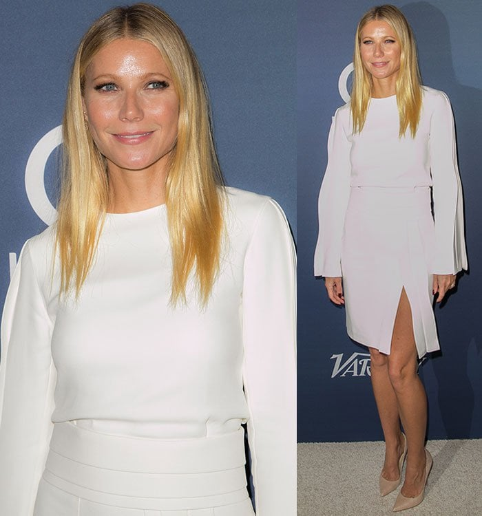 Gwyneth Paltrow in a pleated skirt with a thigh-grazing slit